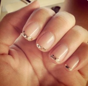 stylish manicure with gold