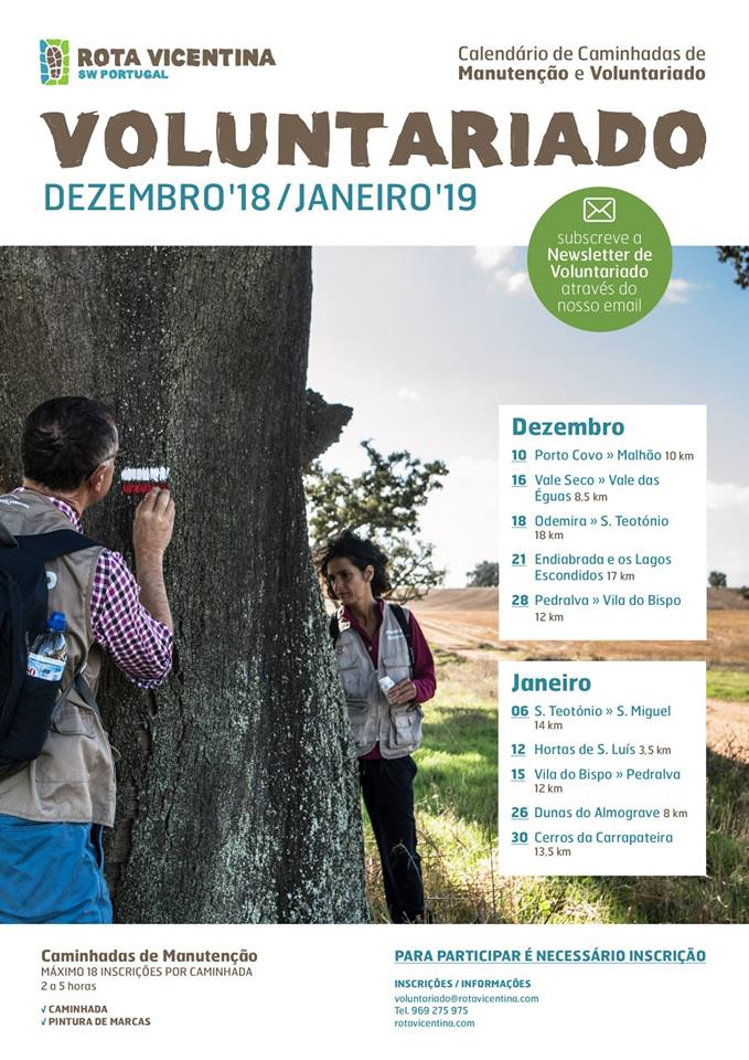 vrijwilligersdagen onderhoud rota vicentina - costa vicentina // Good news for our amazing and motivated volunteers – the schedule of Maintenance and Volunteering activities in December and January is available; and the first Maintenance hike is next week! Fill in your application and join us on any of the 10 stunning winter walks! Inscrição/application: https://bit.ly/2Qcz82D